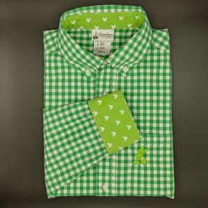 Disney Adult Shirt Green And White Checkered
